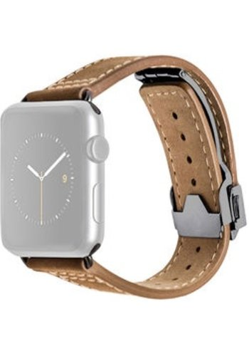 Monowear MONOWEAR Deployant Leather Band for 42mm Apple Watch (Brown, Space Gray Hardware)