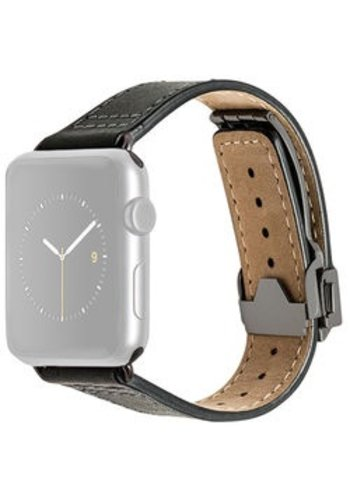 Monowear MONOWEAR Deployant Leather Band for 42mm Apple Watch (Black, Space Gray Hardware)