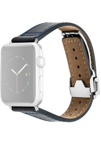 Monowear MONOWEAR Deployant Leather Band for 42mm Apple Watch (Navy, Silver Hardware)