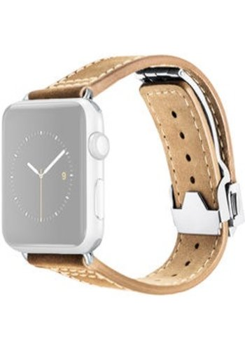 Monowear MONOWEAR Deployant Leather Band for 42mm Apple Watch (Crème, Silver Hardware)