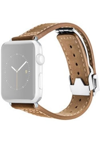 Monowear MONOWEAR Deployant Leather Band for 42mm Apple Watch (Brown, Silver Hardware)
