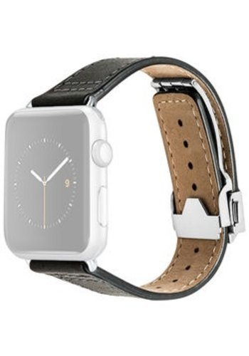 Monowear MONOWEAR Deployant Leather Band for 42mm Apple Watch (Black, Silver Hardware)