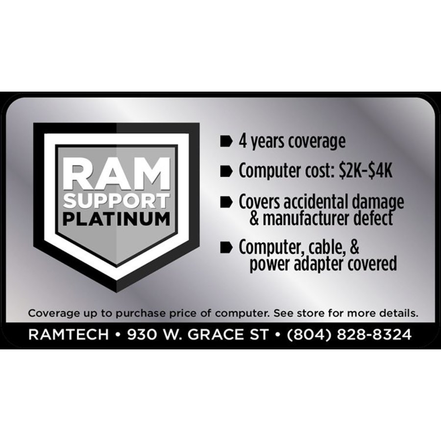 Platinum RAMSupport 4-Year Warranty + First 6 Months Theft Coverage $2000-$4000