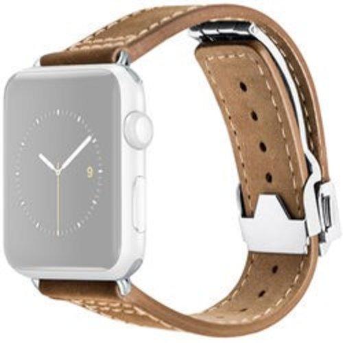 Monowear MONOWEAR Deployant Leather Band for 42mm Apple Watch (Brown, Silver Hardware)