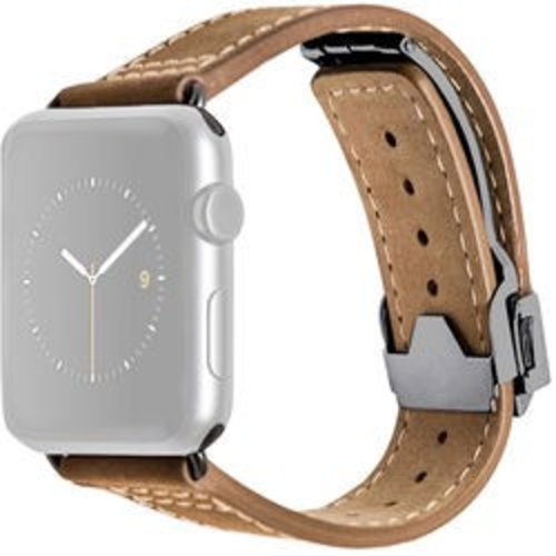 MONOWEAR Deployant Leather Band for 42mm Apple Watch (Brown, Space Gray Hardware)
