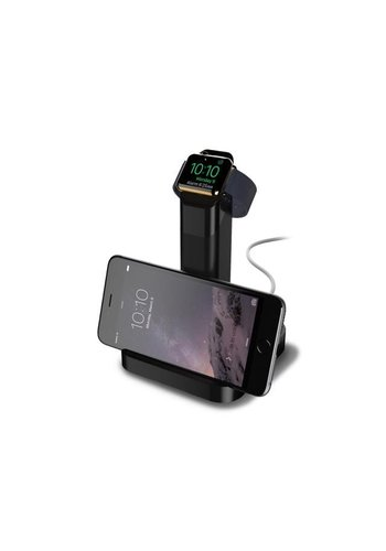 Griffin WatchStand Charging Dock, Dual Stand for Apple Watch and iPhone (Black)