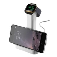 Griffin WatchStand Charging Dock, Dual Stand for Apple Watch and iPhone (White)