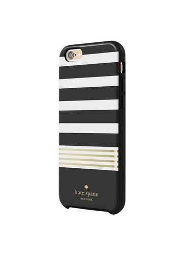 Kate Spade Kate Spade NY Hybrid Hardshell Case for iPhone 6 Plus/6S Plus (Stripe 2 Black/Cream/Gold Foil)
