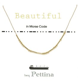 "Beq Pettina Morse Code Necklace ""Beautiful"""