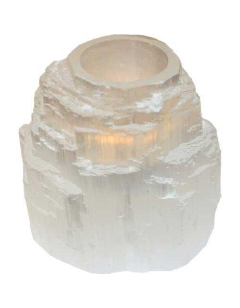White Tower Selenite Tealight Holder