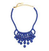 David Aubrey Glass Bead Bib Necklace in Cobalt