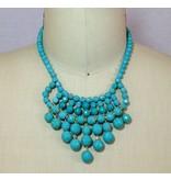 David Aubrey Glass Bead Bib Necklace in Turquoise