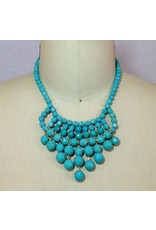 David Aubrey Glass Bead Bib Necklace in Turquoise