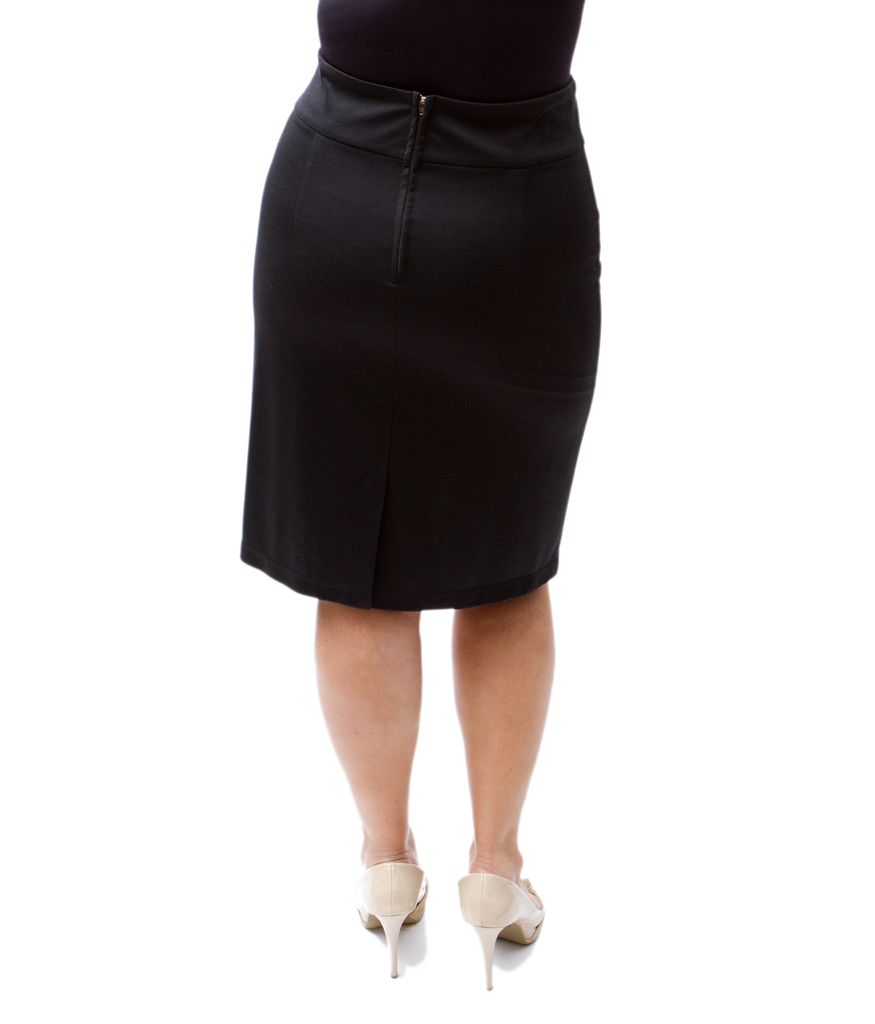 Lee Lee's Valise Linda High Waisted Skirt in Black Ponte