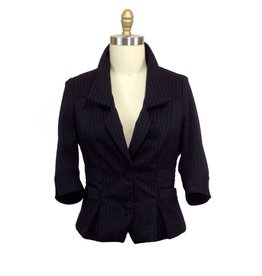 Lee Lee's Valise Angelina Jacket in Black Pinstripe, Large
