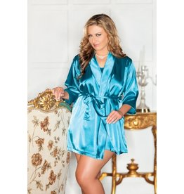iCollection Satin Robe in Teal