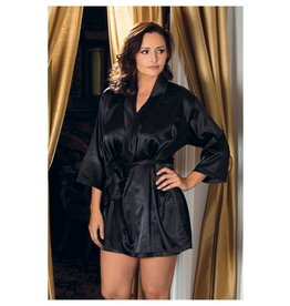 iCollection Satin Robe in Black
