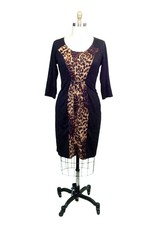 Lee Lee's Valise Katie Color Block Dress in Leopard
