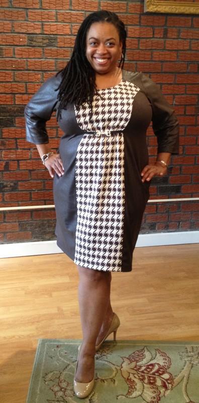 Lee Lee's Valise Katie Color Block Dress in Brown  Houndstooth