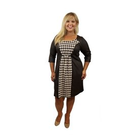 Lee Lee's Valise Katie Color Block Dress in Brown  Houndstooth