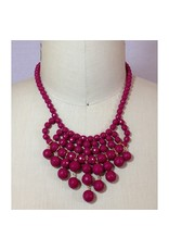 David Aubrey Glass Bead Bib Necklace in Cranberry