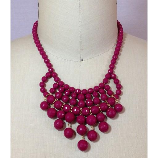 David Aubrey Glass Bead Bib Necklace in Cranberry
