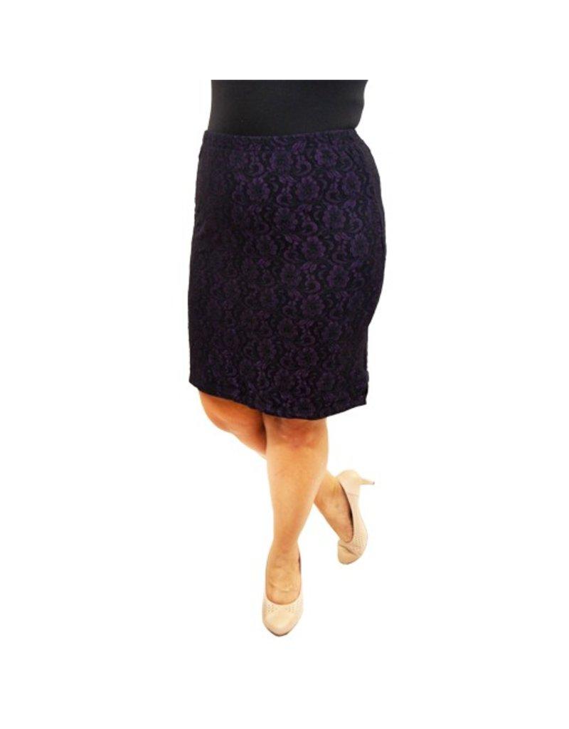 Lee Lee's Valise Paula Pencil Skirt in Black/Purple Lace