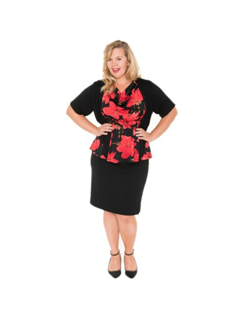 Lee Lee's Valise Carolyn Cowl Neck Top in Red Lily