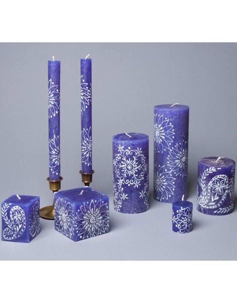 Thumbprint Artifacts Henna White on Blue Taper Candle Pair