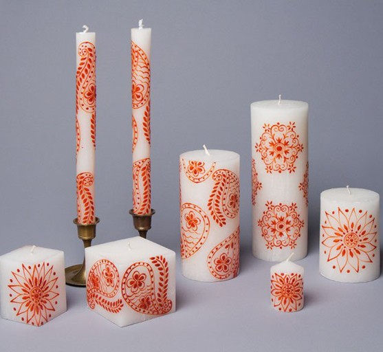 Thumbprint Artifacts Henna Red on White Taper Candle Pair