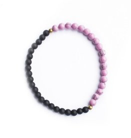 Ethnic Goods Night & Day Bracelet in Matte Black and Magenta Marble
