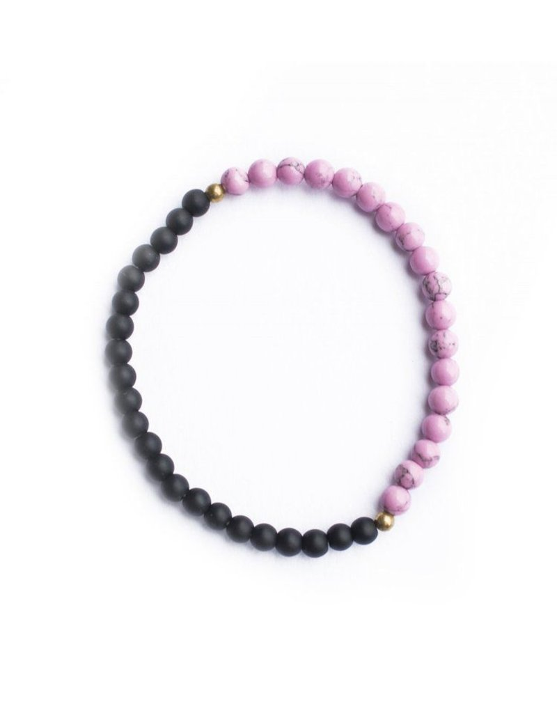 Ethic Goods Night & Day Bracelet in Matte Black and Magenta Marble