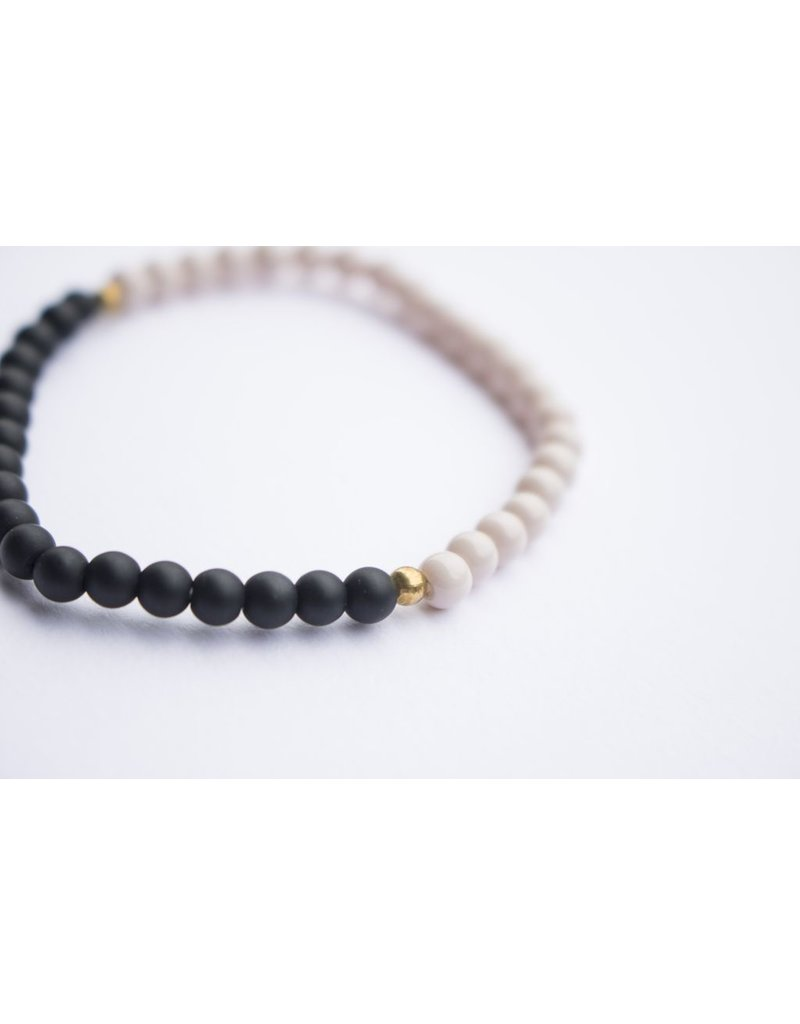 Ethic Goods Night & Day Bracelet in Cream and Matte Black