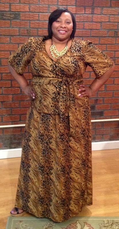 Lee Lee's Valise Carol Wrap Top Regular Length in Gold Texture