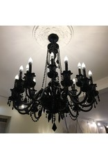 Lee Lee's Valise 18 Arm Black Crystal Chandelier
