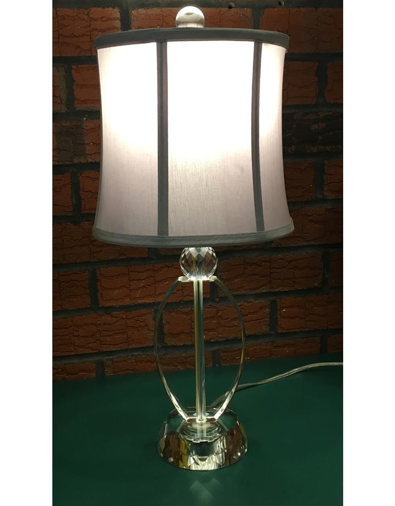 Lee Lee's Valise Round Glass Bottom Lamp w Grey Shade