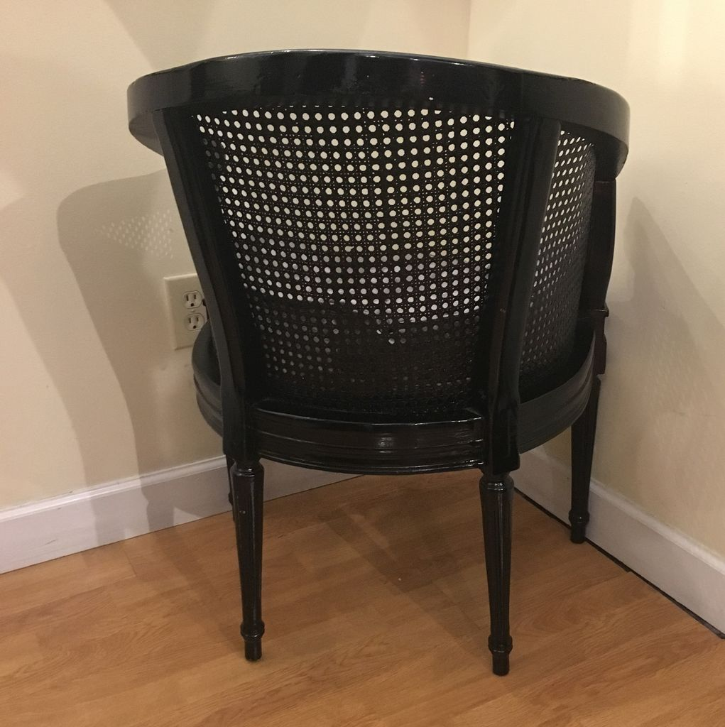 Lee Lee's Valise Antique Cane Back Chair in Black