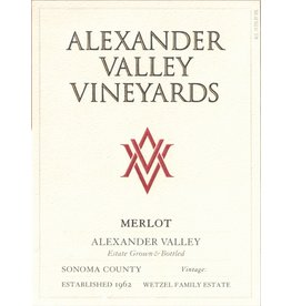 Wine Merlot, Alexander Valley Vineyards, Alexander Valley, CA, 2015 (375ml)