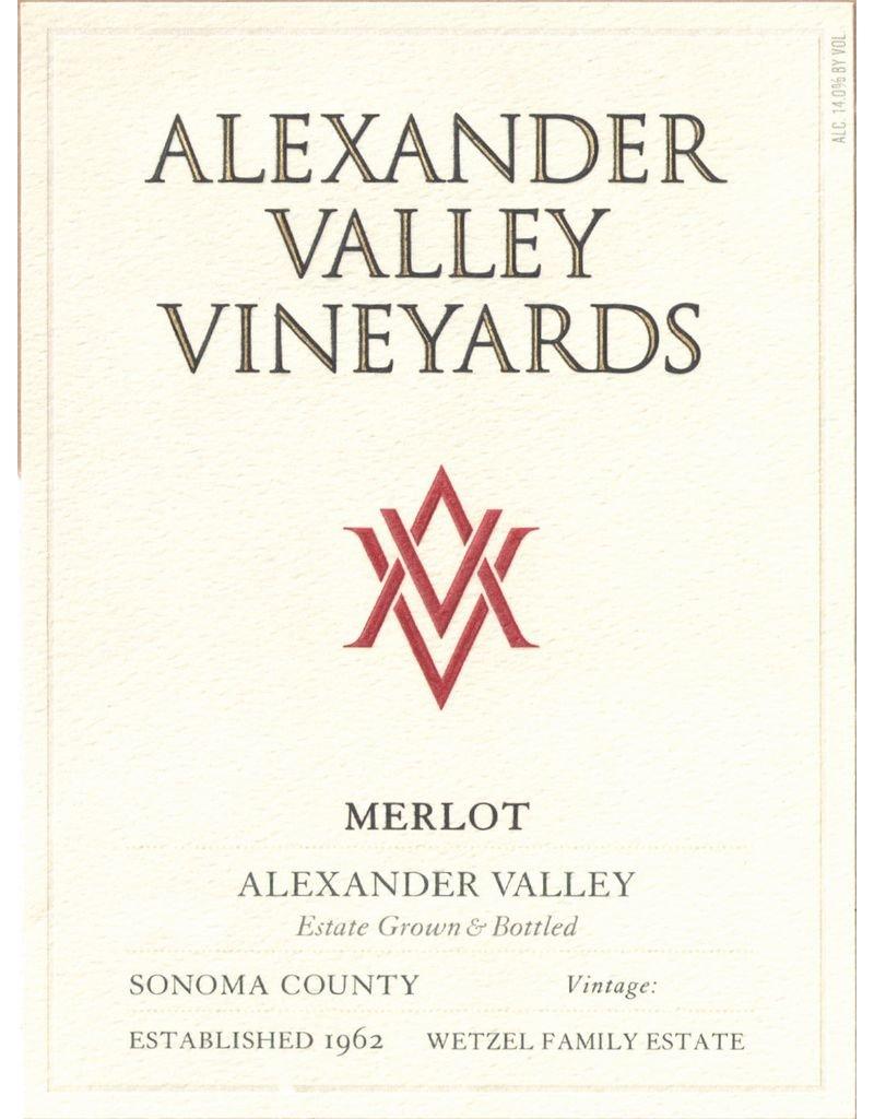 Wine Merlot, Alexander Valley Vineyards, Alexander Valley, CA, 2015 (375ml)