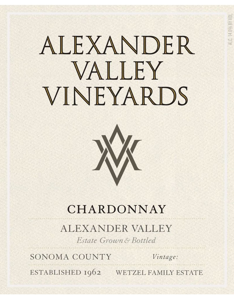 Chardonnay, Alexander Valley Vineyards, CA, 2016