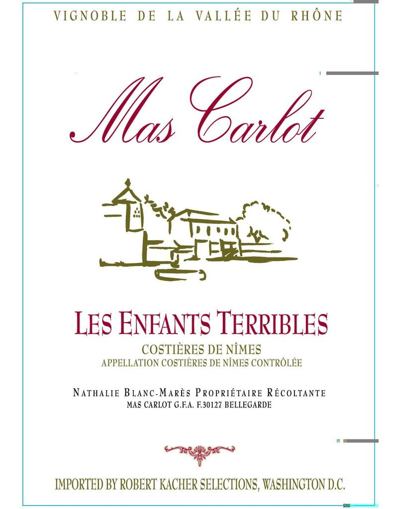 """Wine Rhone Blend """"Les Enfants Terribles"""", Mas Carlot, Costieres de Nimes, FR, 2012"""