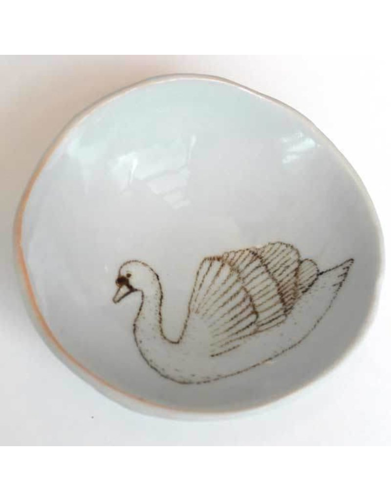 Swan Woodgrain Jewelry  Dish