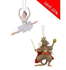 Snow Queen & Mouse King  Ornament Set