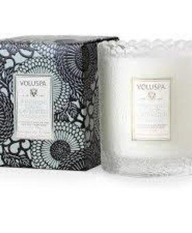 Voluspa French Cade Lavender Scalloped Glass Candle