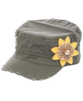 Jeweled Floral Accent Cap~ Olive/Yellow