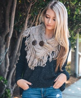 CABLE KNIT BUTTON ACCENT FRINGED SCARF - Mocha