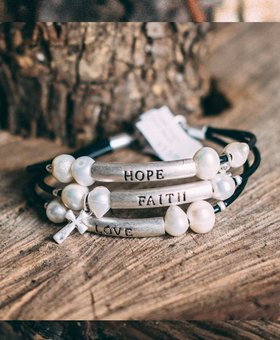 Faith Hope Love Stacked Bracelet