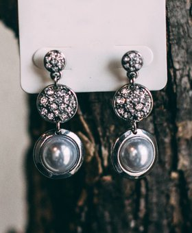 Bezel Set Pearl Link Earrings