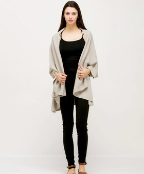 Look by M Basic Shawl Vest~ Stone Grey- Look By M