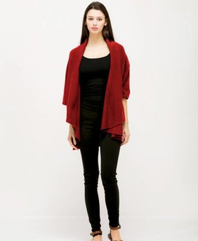Look by M Basic Shawl Vest~ Scarlet- Look By M